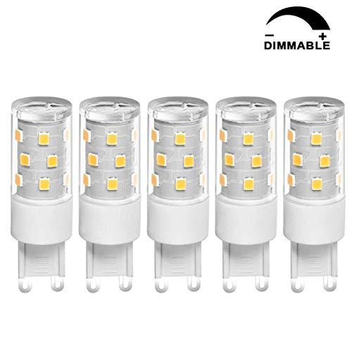 SanGlory 5er G9 LED Lampe Dimmbar Kein Flackern(5W Ersetzt 50W Halogen)500LM, Warmweiß 3000K, 21 X 2835 LED SMD,AC 220-240V, G9 LED Leuchtmittel Birne