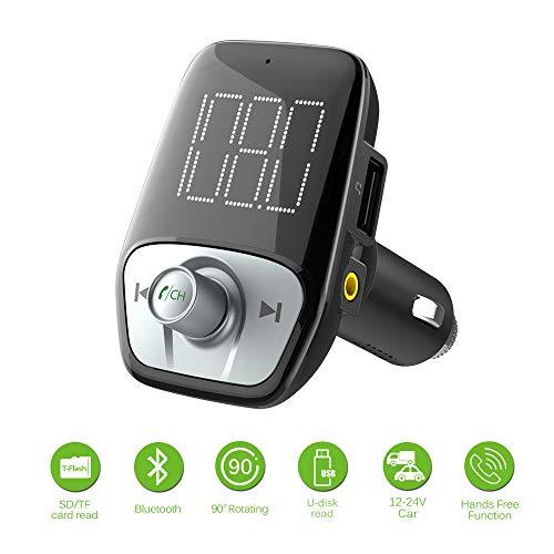 HMCYKJ FM Transmitter AUX Modulator Bluetooth 4.2 Drahtloser Autoradio-Adapter Freisprecheinrichtung Ladegerät TF USB MP3 Player -