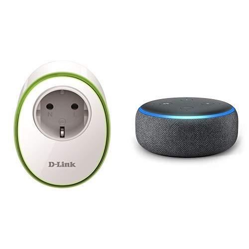 Echo Dot tessuto antracite + D-Link DSP-W115 Presa Intelligente con Interruttore senza Fili per Gestione Luci e Dispositivi Elettronici