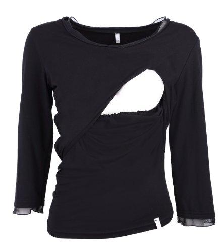 T-shirt pour allaitement, TOP pour allaitement, t-shirt pour grosses - modèle : SWING, à manches longues ou courtes Blanc / Sans manche