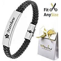 TMT® Personalised Men's Leather Bracelet For Dad ★ ID Identity ★ Birthday ★ Name Engraved Black ★ Best Men