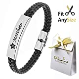TMT® Personalised Men's Leather Bracelet For Dad ★ ID Identity ★ Birthday ★ Name Engraved Black ★ Best Men
