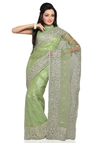 Utsav Fashion Net Saree (Suf5355_Light Green)