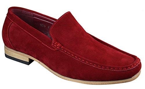 Mocassins homme simili daim bout carré à enfiler style italien chic rouge marron bleu noir Rouge