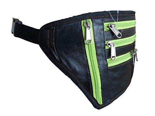 Leder groß XL Gürteltasche flach Geld - 9 Reißverschluss Farben inkl. Rasta Rastafari - Urlaub Reise Gürteltaschen Hüfte Taschen - Fest schwarzes weiches bis zu 122cm - hell grün Reißverschluss, Large hell grün Reißverschluss