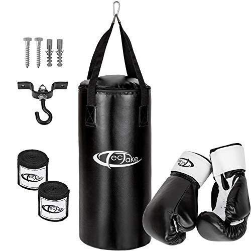 TecTake Box Set Boxsack 56cm gefüllt mit 10kg + Halterung inkl. Boxhandschuhe und Bandagen (Wohnung Boxsack)
