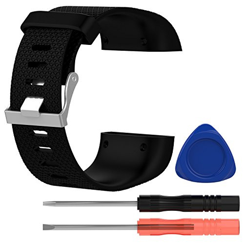 BlueBeach® BlueBeach® Einstellbar Fitbit Surge Ersatzband Uhrenarmband Silikon Armband Uhrarmband Band (Schwarz - Große Größe)