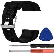BlueBeach® Ajustable Fitbit Surge Remplacement Bracelet de Montre Sangle Bande Sport Band en Silicone (Noir - Grande Taille)