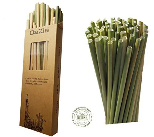 Gras Strohhalme Wiederverwendbar 50St Grasstrohhalme  Nachhaltige Alternative zu Papierstrohhalmen,Plastik, Edelstahl, Metal, Glas Strohhalmen, umweltfreundlich, bio, kompostierbar