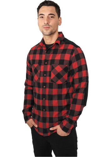 URBAN CLASSICS - Cord Patched Checked Flanell (black/red) - Hemd, Gr. L (Hose Checked Flanell)