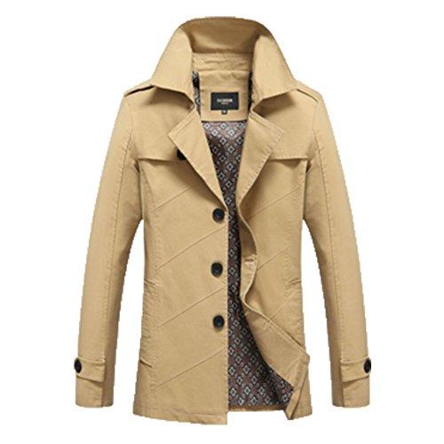 OHmais homme parka manteau d'hiver veste fourré Kaki