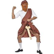 Smiffy de - Traje Escocés Highlander, incl. sombrero, barba, camisa, faja, faldas, calcetines y la dote, Hombre