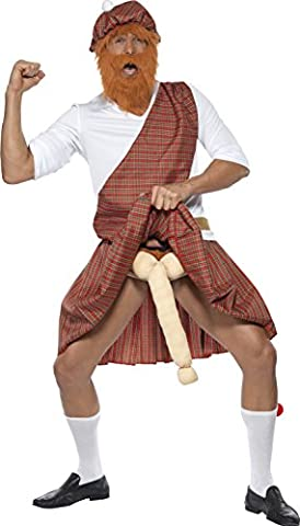 Smiffy's Adult Men's Well Hung Highlander Costume, Hat, Beard, Top, Sash, Kilt, Sporran, Socks and Endowment, Funny Side, Serious Fun, Size: L, 20358