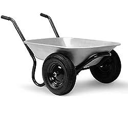 Brouette de jardin 2 roues Capacité 150kg 100 Litres Panier de Jardin Jardinage Construction