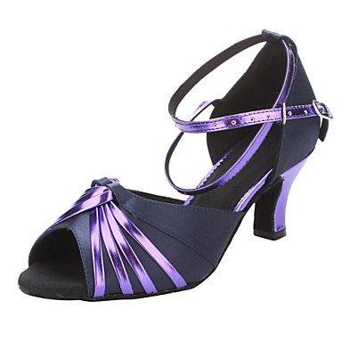 Silence @ pour femme Chaussures de danse latine/salle de bal en satin/similicuir Chunky Talon Violet Violet