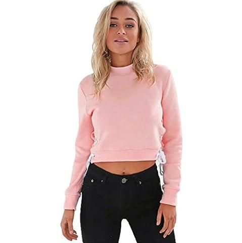 Femmes Sweatshirt, TReaso Pull Jumper Sweat à capuche Manche longue Tops Chemisier (S, Rose)