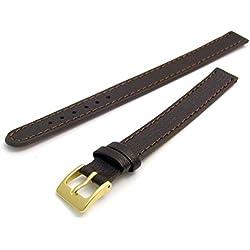 Super long Ladies XXL Leather Watch Band Strap Buffalo Grain 10mm Brown Gilt (Gold Colour) buckle