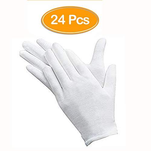 24 Stück weiße Handschuhe, ANDSTON 12 Paar weiche Baumwollhandschuhe, Münzschmuck Silber Inspektionshandschuhe, dehnbares Innenfutter Handschuh, mittlere Größe