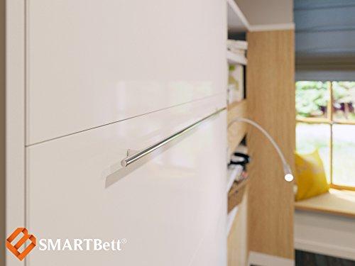Schrankbett 120cm Vertikal Weiss SMARTBett Schrankklappbett & Wandbett SMART Punkt Kaltschaummmatratze 120x200cm, ideal als Gästebett – Wandbett, Schrank mit integriertem Klappbett, SMARTBett - 4