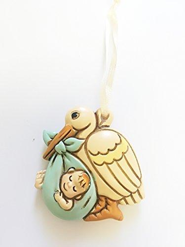 Takestop® set 12 pezzi bomboniera bomboniere cicogna azzurro maschio maschietto ceramica appendino battesimo baby bambino nascita