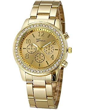 XLORDX Geneva Luxus Designer Strass Damenuhr Rosegold Uhr Chronograph Optik Strassuhr Blogger Bloggeruhr Gold