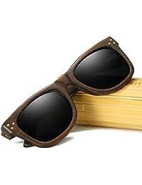KITHDIA Lunettes de soleil en bois de noyer pour hommes et femmes  polarisées de style wayfarer e6192206f68c