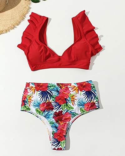 Big D Halfter (Damen Floral Split Bikini Sexy Big V Print Split Bikini Set Bikini,D,M)
