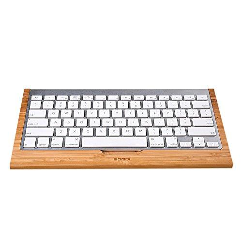 SAMDI Multifunktionale Tastaturhalter Bambus Keyboardständer praktischer Basishalter für Apple iMac Computer PC Bluetooth Tastatur