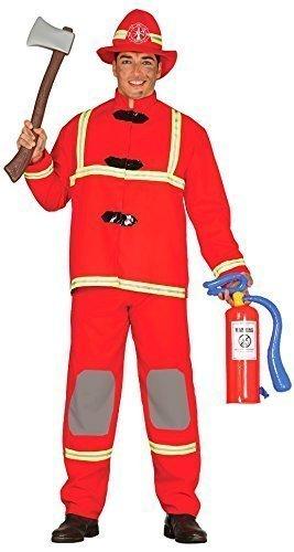 Herren rot Feuerwehrmann Job Uniform Kostüm Kleid Outfit Größe L