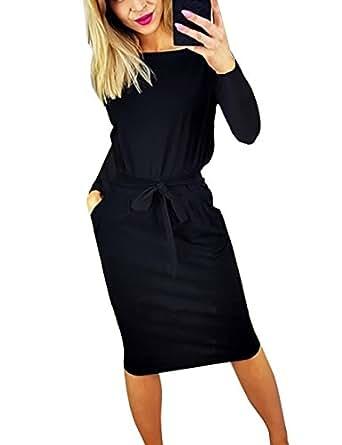 Yieune Sommerkleid Damen Lose Abendkleid Einfarbig Knie Lang Kleider Elegant Strandkleid Minikleid (Schwarz S
