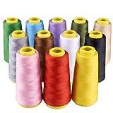 Tomkity 18000 Metri Kit 12pz Filati in Poliestere Bobina di Filo per Cucire 12 Colori a Mano e a Macchina Quilting o Ricamo