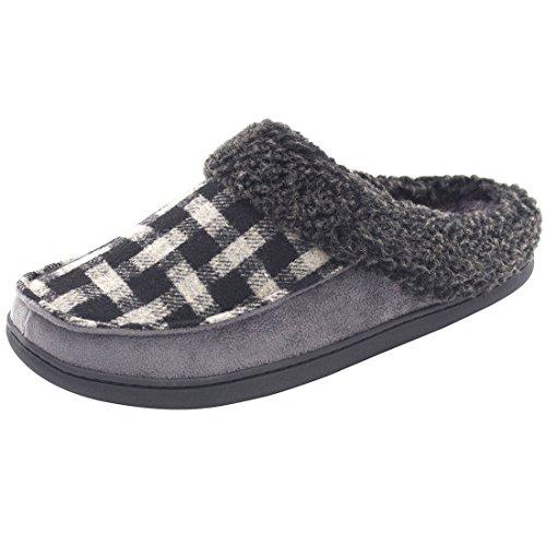Pantofole da uomo, per utilizzo interno o esterno, in lana, peluche e memory foam Grey