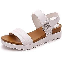 Damen Sommer Sandalen Xinan im Flachen Sandalen Bequeme Damenschuhe (38, Weiß)