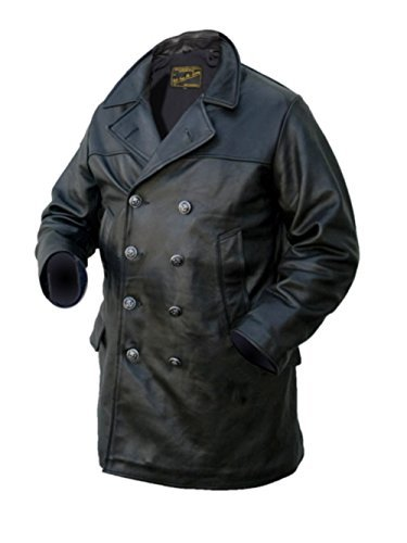 Noble House Uomo U-Boot Giacca di pelle giacca di pelle Pelle toro nero Marinaio giacca Vera Pelle - Nero, Nero, 5XL