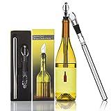 WIL456 HOME Enfriador de vino Varilla 4 en 1 18/8 304 Refrigerador de botellas de vino de acero inoxidable apto para alimentos Congelador con aireador y decantador para merlot de cerveza Cócteles de w