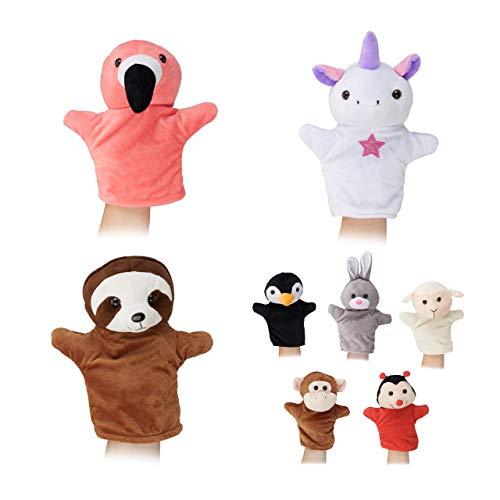 Relaxdays 10024372 - Juego 8 Marionetas niños, diseño