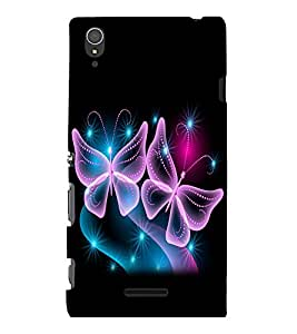 printtech Butterfly Shimmer Stars Back Case Cover for Sony Xperia T3