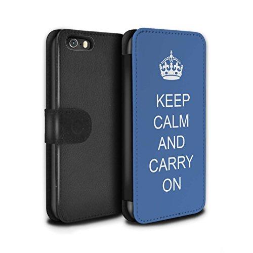 Stuff4 Coque/Etui/Housse Cuir PU Case/Cover pour Apple iPhone 5/5S / Continuer/Bordeaux Design / Reste Calme Collection Continuer/Bleu