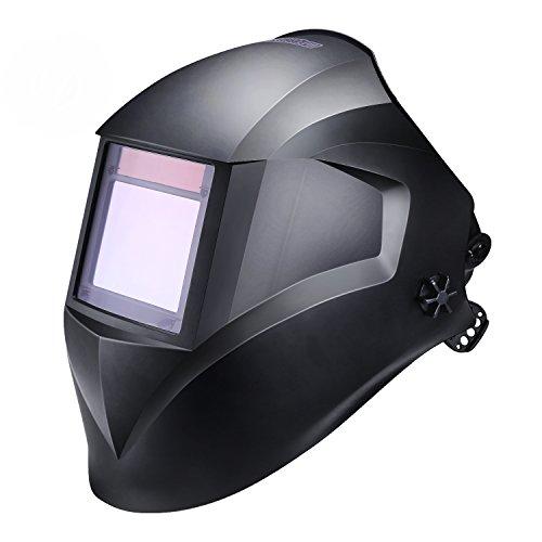Schweißhelm, Tacklife PAH03D Automatik Schweißhelm mit 4 Sensoren, großem Sichtfeld(100 x 73mm), Optische Klasse(1/1/1/1), Solar Schweißmaske (Variable Abdunklung 4/4-8/9-13, inkl. 6 Ersatzgläser)