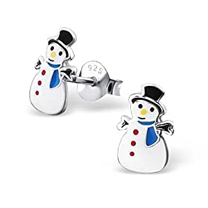 Snowman Sterling Silver Earrings