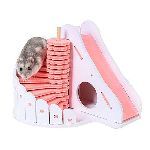 Bulary Hamster Haus Hamster Schlafen Nest Doppelschicht Villa Wasserdicht Abnehmbare Treppe Versteck Hütte Runde Rutsche Balkon Hamster Cage