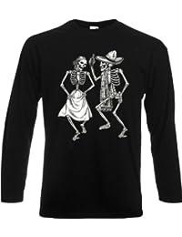 Tanzende Skelette Longsleeve Sombrero Dia de los Muertos Tag der Toten Langarm Shirt Sugar Skull Tattoo : )
