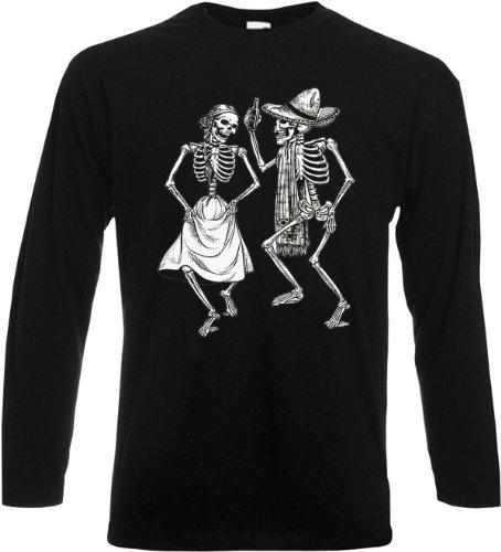 Kostüm Skull Sugar Mariachi - Tanzende Skelette Longsleeve Sombrero Dia de Los Muertos Tag der Toten Langarm Shirt Sugar Skull Tattoo Gr. L :