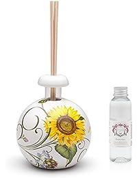 Viva Ceramic Sphere Diffuser Scented Sunflower Essences, Ceramic, with decoration, 13x 9x 10cm, white