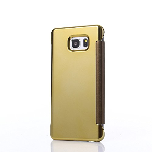 Coque Samsung Galaxy S7 Edge, Amison Clair Miroir Flip Intelligent Housse de Protection (Argent) Or