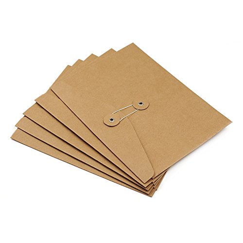 Zhi jin 5PCS spessore carta kraft A4cartellina portadocumenti organizer espandibile borsa con coulisse chiusura per ufficio A5-Horizontal/23.8*17.5cm