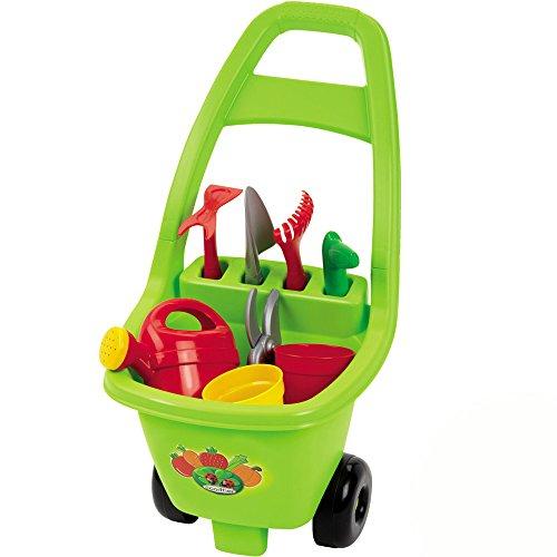 Preisvergleich Produktbild Handwagen mit Gartenwerkzeug wie Gieskanne und Harke, 26 x 33 x 50 cm: Klein Kinder Gartengeräte Trolley Sand Spielzeug für Draußen Gartenspielzeug