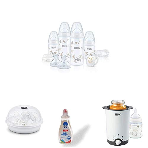 NUK Perfect Start Plus Babyflaschen Set aus Polypropylen, neutral + Micro Express Plus Mikrowellen Sterilisator + Spülmittel für Babyflaschen & Sauger + Thermo 3 in 1 Flaschenwärmer