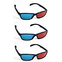Red-Cyan 3D Glasses for 3D DVD Videos, Youtube 3D, Gaming 3D, Plastic Extra upgrade Anaglyph - Pack of 3