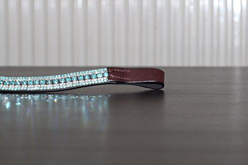 Equipride Beautilful Curve Shape Bling Crystal Browband Sparkly Turquoise 2